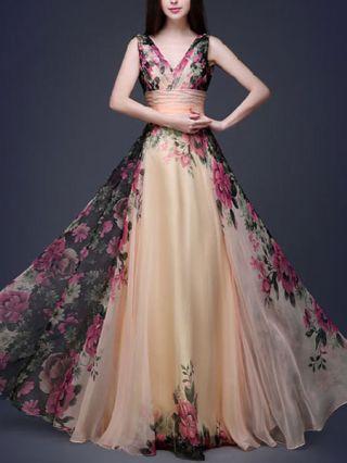 Elegant Flowers Printed V-neck High Waist Chiffon Evening Long Swing Dress