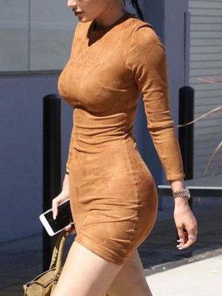 Fall/Winter Brown Long-sleeved Mini Pencil Bodycon Suede Dress