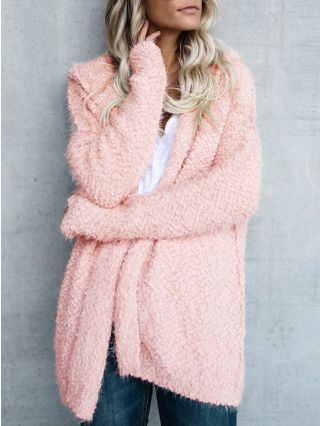 Fall/Winter Casual Long Sleeves Hooded Knit Cardigan