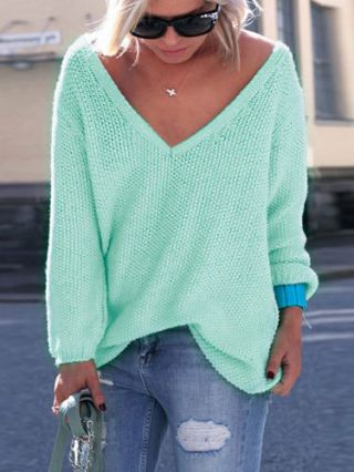 Fall/Winter Fashion Long Sleeves V-neck Casual Knit Sweater