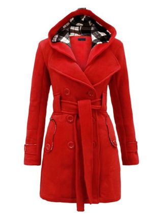 Fall/Winter Lapel Double-Breasted Belted Fleece Hooded Coat with Long Sleeves