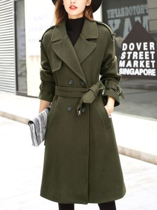 Fall/Winter Lapel V-neck Long Sleeves Belted Double-breasted Woolen Coat