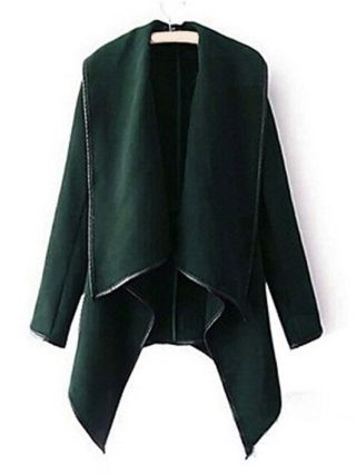 Fall/Winter Long Sleeve Stand Collar Irregular Woolen Trench Coat Plus Size