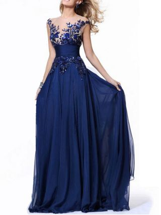 Fashion Backless Lace Flowers Embroidery Beading Chiffon Maxi Evening Cocktail Dress Plus Size
