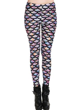 Fashion Fish Scales Printed Leggings Lady's Pants Trousers