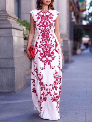 Fashion Flowers Printed White Sleeveless High-waisted Cotton Gown Evening Maxi Dress