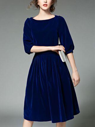 Fashion Half Sleeve Round Neck Stitching Pleated Midi Velvet Dress
