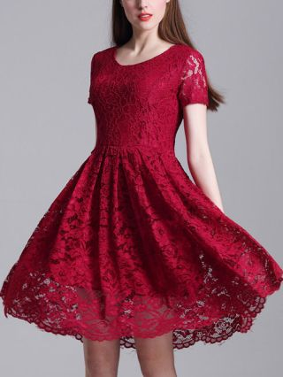 Summer Lace Crochet Hollow Swing Valentines Day Dress