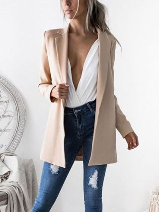 Fashion Long Woolen Coat Solid-colored Long Sleeves Blazer For Women