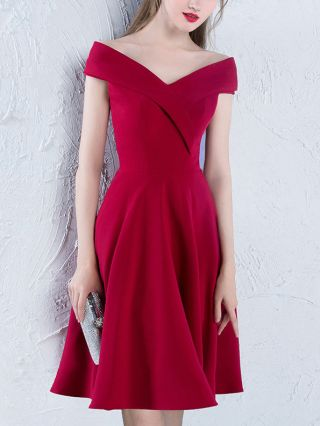 Fashion Red Homecoming Dress Off Shoulder Short Wedding Bridesmaid Prom Party Dresses