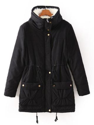Fashion Stitching Color Thick Drawstring Lapel Cotton Padded Coat for Women