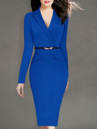 Fashion Suit Collar Long Sleeve Back Slit Plus Size Midi Pencil Professional Work Dress with Belt