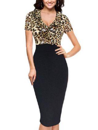 Fashion V-neck Leopard Stitching Black Short Sleeve Midi Bodycon Formal Business Work Pencil Dress Plus Size