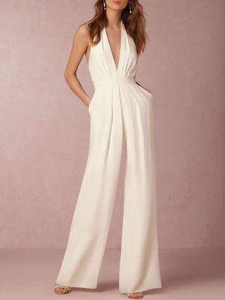Fashion V-neck Sleeveless Halter Backless Jumpsuit