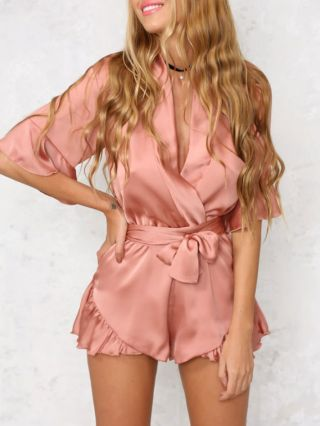 Faux Satin V-neck Short Sleeves Lace Rompers with Belt