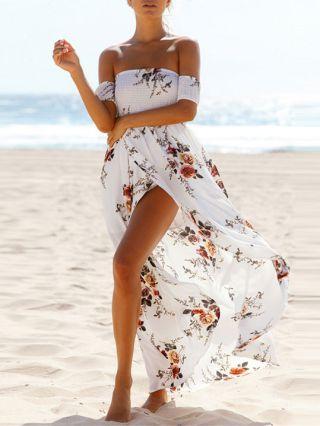 Floral Maxi Dress Off the Shoulder Flowers Printed Split Summer Dresses