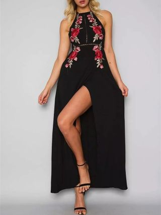 Flowers Embroidery Halter Lacy Backless Long Split Party Dress