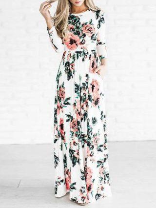 Flowers Printed Long Sleeves Elastic Waist Maxi Swing Plus Size Dresses