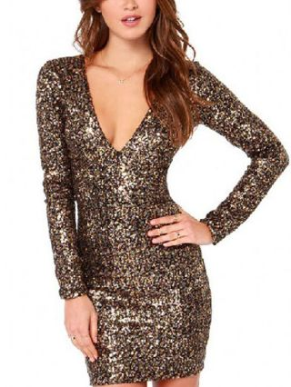 Gold Embroidery V-neck Long Sleeves Sequined Short Club Bodycon Dress