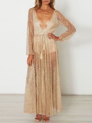 Gold See-through Rhinestone V-neck Mesh Backless Maxi Swing Beach Sequin Dress with Long Sleeves