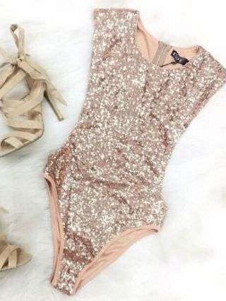 Gold Sequined One Piece Swimsuits Triangle Swimwear for Women