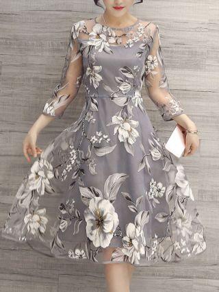 Grey Flowers Printed Three-quarter Sleeve Summer Organza Dresses