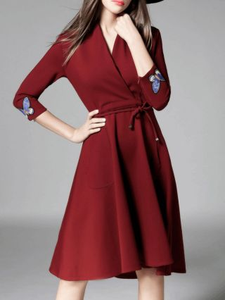 High-waisted Cocktail Wrap Dress Long Sleeve Butterfly Embroidered V-neck Midi Dress