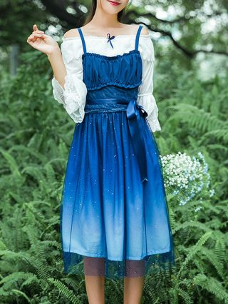 Japanese Style Two Piece Dress White Blouse Blue Gradually Changing Color Gilding Star Printed Summer Dress