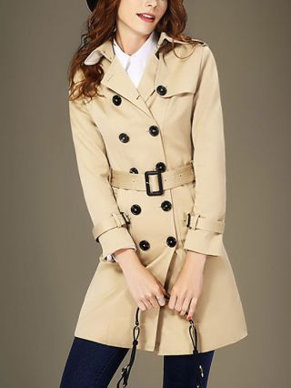 Korean British Style Khaki Lapel Double-breasted Long Sleeves Belted Trench Coat