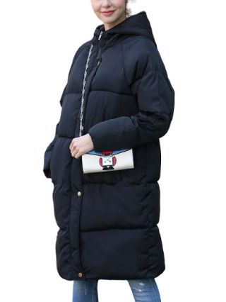 Korean Hooded Coat Casual Thick Long Sleeves Cotton Padded Clothes For Women