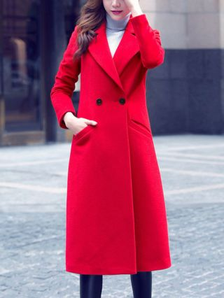 Korean Red Double-breasted Long Sleeves Lapel Double-sided Wool Coat