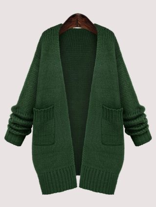Lady Sweet Casual Thin Long Sleeve Cotton Knit Cardigan with Double Pockets
