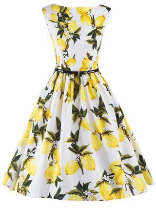 Lemon Printed Audrey Hepburn Style Dress Vintage 50s Style Rockabilly Inspired Swing Dress