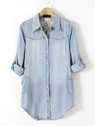 Light Blue Lapel Pearl Button Denim Shirt with Long Sleeves Plus Size