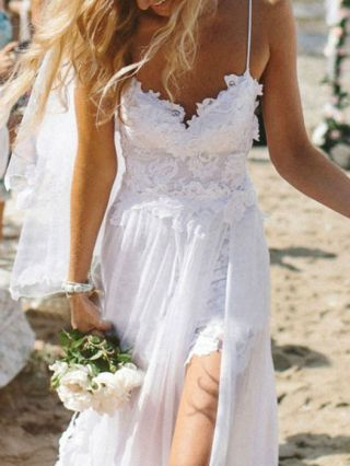 Long Evening Dress White Lace See-through Maxi Cami Summer Dresses