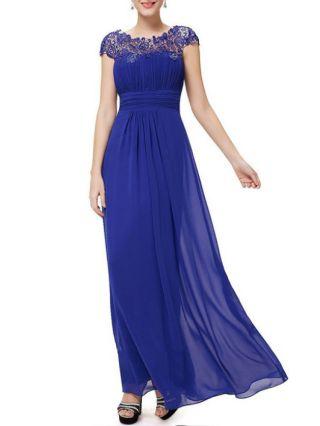 Long Evening Formal Dress Fashion Lace Stitching Chiffon Maxi Prom Dress Plus Size