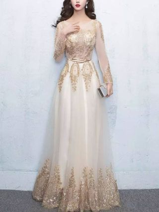Long Prom Dresses Elegant U-neck Lace Embroidery Mesh Beading Wedding Bridesmaid Party Evening Gowns Quinceanera Dress