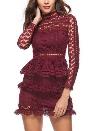 Long Sleeves Cute Lace Dress Stand Collar Crochet Hollow Flouncing Hem Short Bodycon Dress