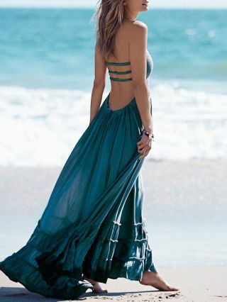 Long Summer Beach Dresses Open Back Cotton Maxi Halter Swing Dress