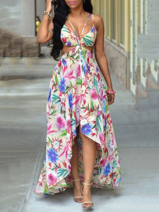 Long Summer Bohemian Dress V-neck Flowers Printed Backless High-low Maxi Chiffon Dress Plus Size