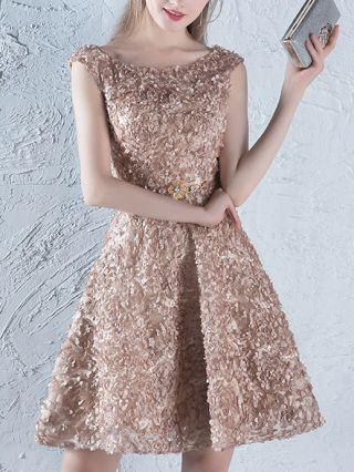 Off The Shoulder Elegant Evening Dress Khaki Backless Short Homecoming Dress