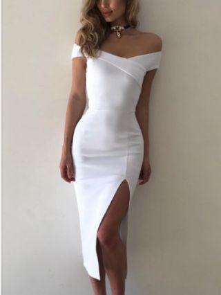 Off The Shoulder White Black High Split Midi Bodycon Pencil Dresses