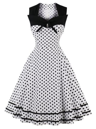 Plus Size Audrey Hepburn Dresses Vintage Square Neck Polka Dot Printed Bow Summer Swing Party Midi Dress
