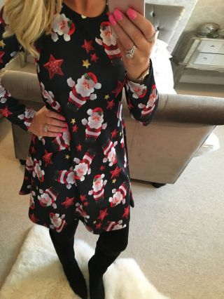 Plus Size Black Red Christmas Dress Santa Claus Lucky Star Printed Long Sleeves Dress