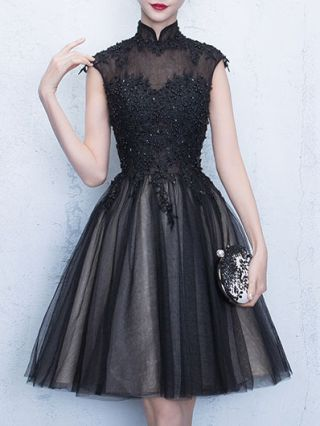 Plus Size Black Short Homecoming Dress Beading Lace Stitching Gauze Party Evening Gown Dresses