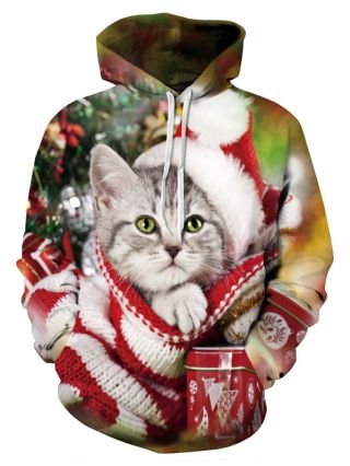 Plus Size Couple Hoodies Fashion Ugly Christmas Cat Printed Hooded Clothes for Women/Men