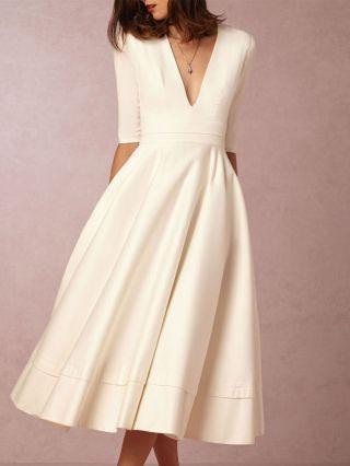 Solid Color V-Neck Half Sleeves Evening Dresses