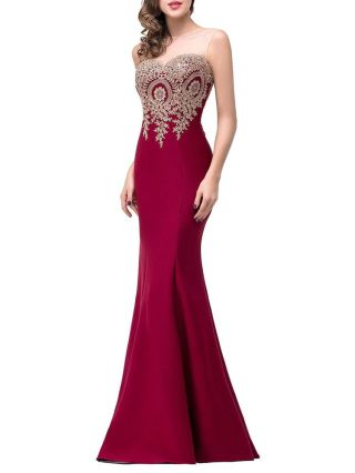 Plus Size Embroidery Mermaid Evening Dress Strapless Mesh Lace Flowers Maxi Bodycon Party Prom Dresses