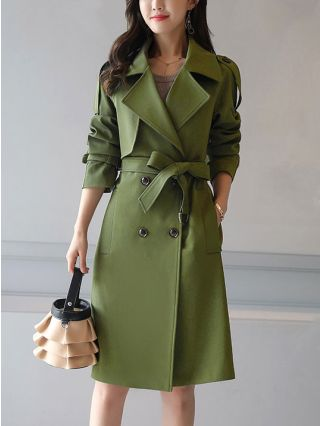 Plus Size Korean Windbreaker Straight Type Long Sleeves Double-breasted Trench Coat with Belt