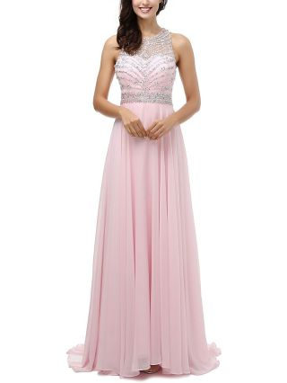 Plus Size Long Evening Dress Backless Criss-cross Beaded Stitching Chiffon Prom Gown Cocktail Dress